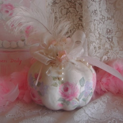 Ohhh! so pretty Hand Painted Rose Pumpkin SOLD