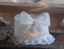 Soft, Pretty and Chic recycled Lace Jar