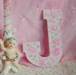 Chic Cottage Rose Hand Painted Letter J