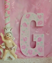 Cottage Rose Sweetness Hand Painted Letter G