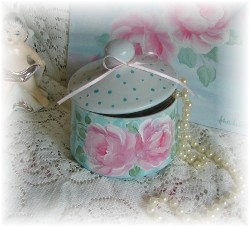 Sweet Hand Painted Cottage Chic Glass Jar with Lid