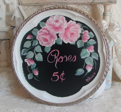 Hand Painted Cottage Rose Tray ''Roses 5c''