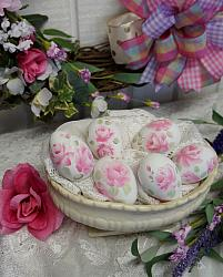 Six Hand Painted Romantic Farmhouse Rose Eggs
