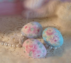 Three Adorable Hand Painted Rose Cottage Eggs-SOLD